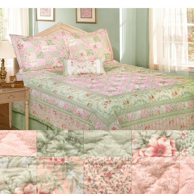 Victorian Rose Patchwork 5 Piece Quilt Set Free Shipping