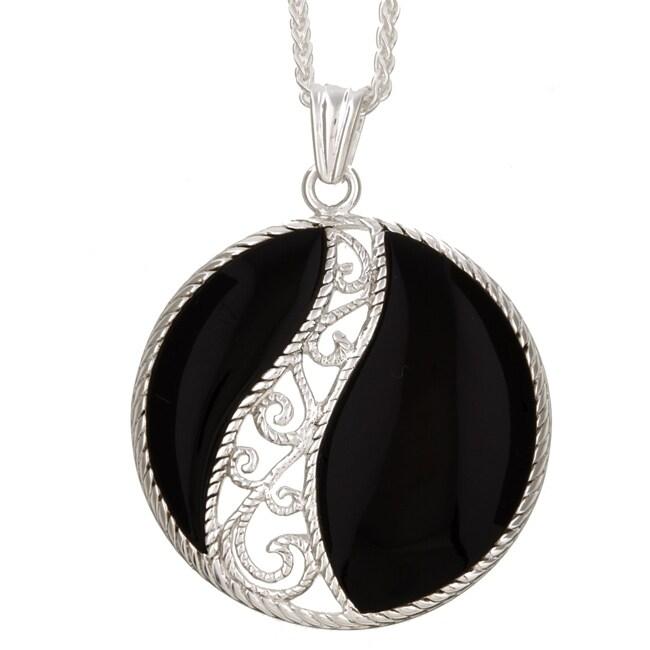 Sterling Essentials Sterling Silver Black Onyx Filigree Necklace