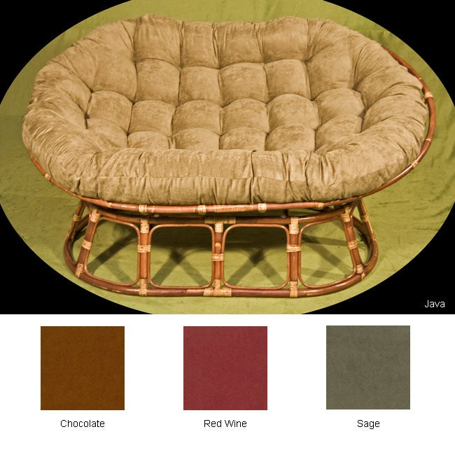 stained double frame micro suede papasan chair