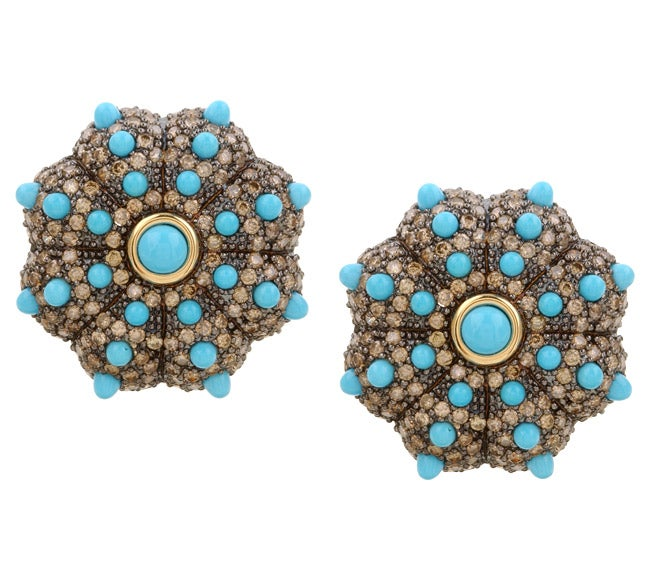 Encore by Le Vian 14k Gold Turquoise and 3 1/2ct TDW Chocolate Diamond Earrings