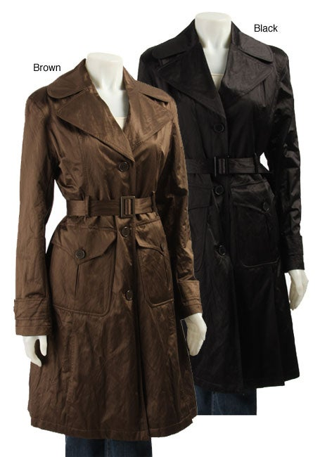 DKNY Women's Black Metallic Trench Coat