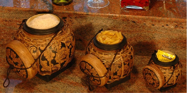 Decorative Thai Rice Boxes (Set of 3)
