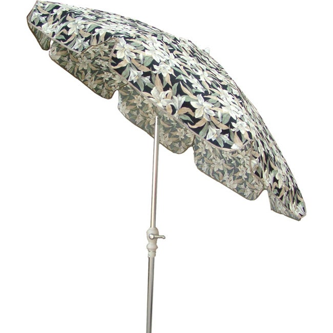 Black Floral 7.5-foot Umbrella
