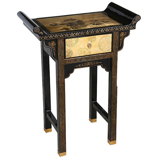 Gold Lacquer Oriental End Console Table Free Shipping Today 3184736