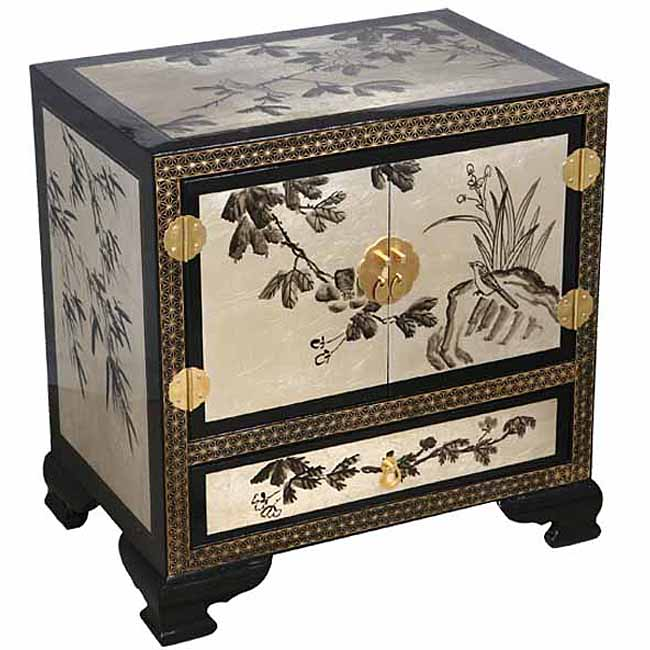 Black and Silver Chinese Cabinet/ End Table