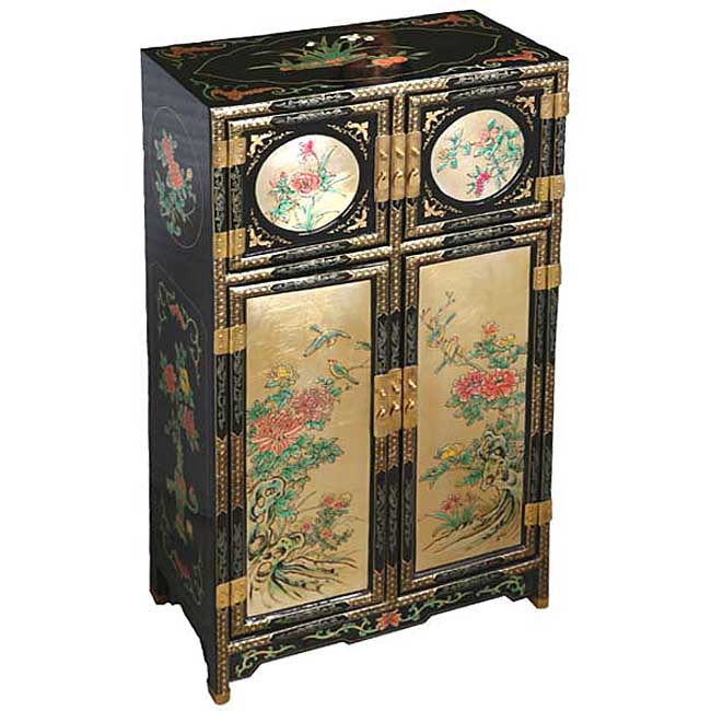 Antique Style Gold Black Chinese Storage Cabinet