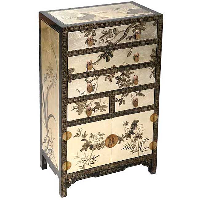 Silver/ Black Lacquer Asian Dresser