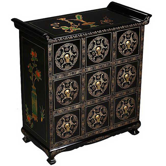 Black Lacquer Gold Trim Chinese Storage Cabinet