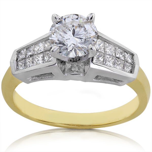 Annello by Kobelli Platium and 18k Gold 1 1/2ct TDW Certified Diamond Engagement Ring (F-H, VS-SI2)