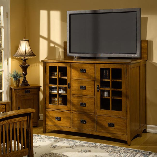 Mission Solid Oak Entertainment Center Free Shipping