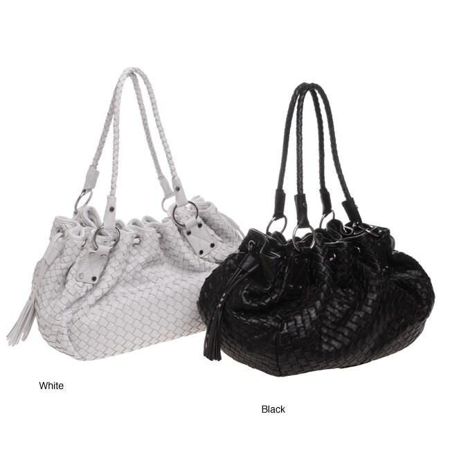 Adrienne Vittadini Woven Leather Drawstring Bag Free