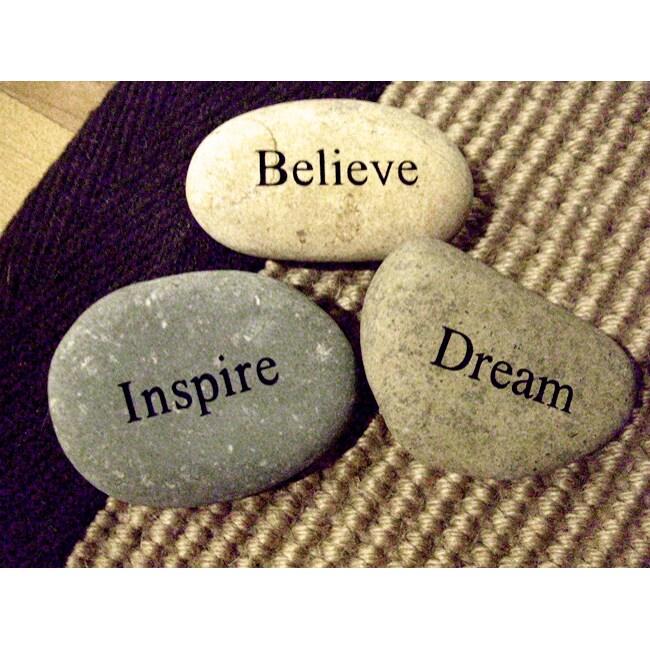 Kabella Inspirational 'Inspire, Believe, Dream' Stones (Set of 3)