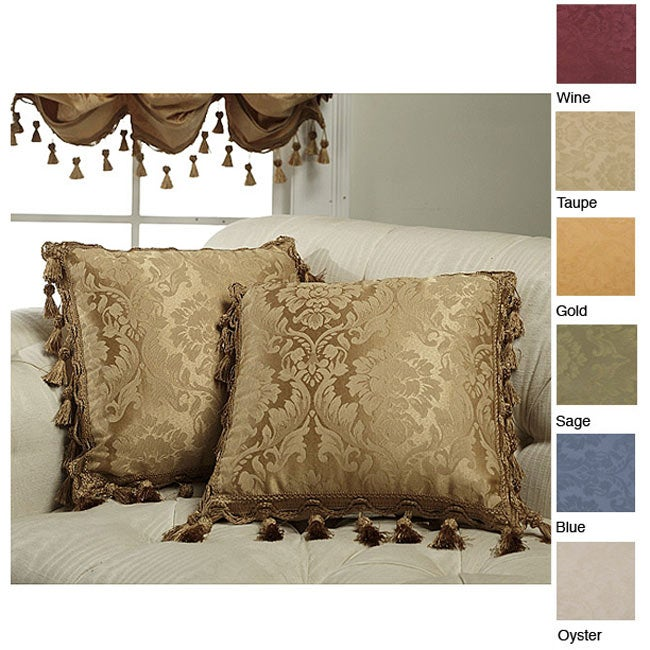 Beautiful Decorative Pillows With Fringe Part - 5: Thermal Damask 18-inch Tassel Fringe Throw Pillow Pair