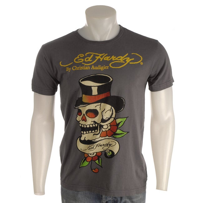 7ff430e44 Shop Ed Hardy Men s Skull with Top Hat Short-sleeve T-shirt - Free Shipping  Today - Overstock.com - 3187779