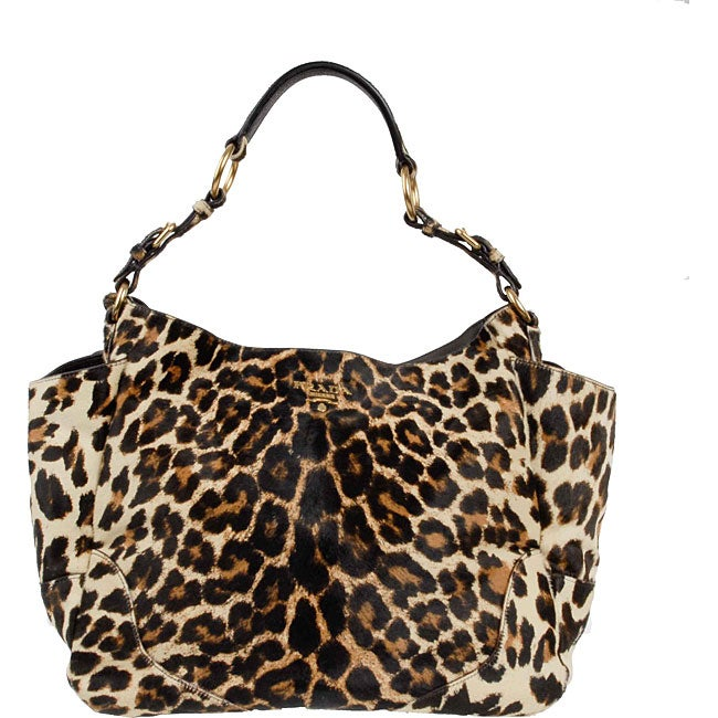 15a32a5101 Shop Prada Leopard Print Calf Hair Tote Bag - Free Shipping Today -  Overstock - 3189318