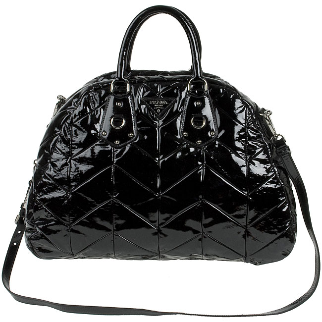 138e96790e7ca8 Shop Prada Large Black Patent Leather Bowler Bag - Free Shipping Today -  Overstock - 3199126