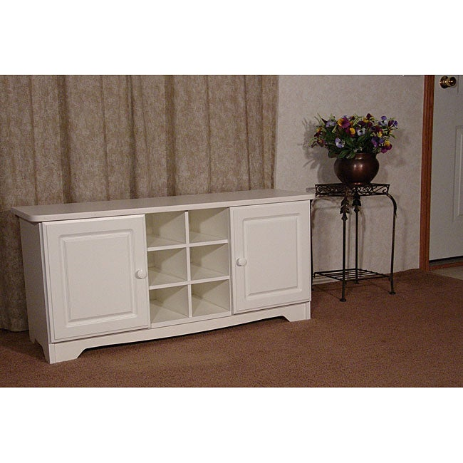White Cubby Bench with Doors