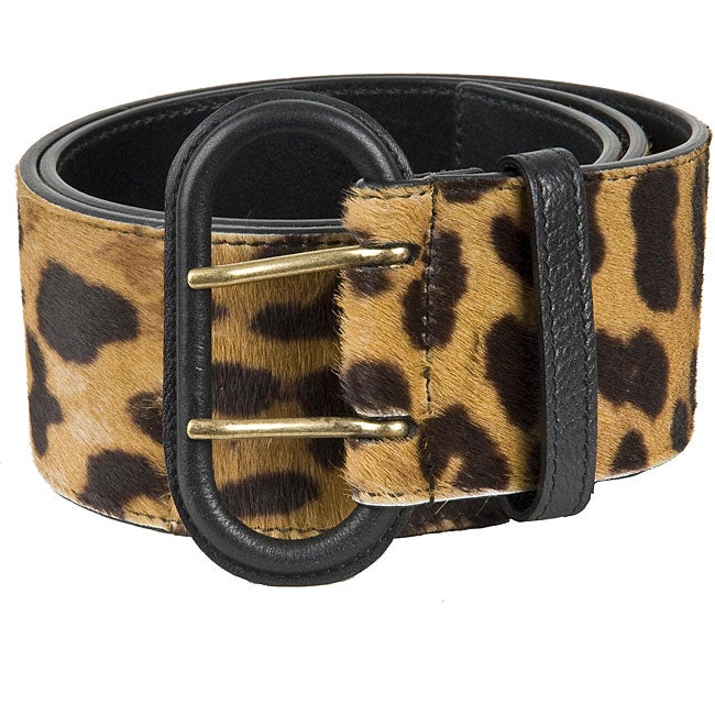 Ysl Women S Leopard Print Calf Hair Wide Belt Free