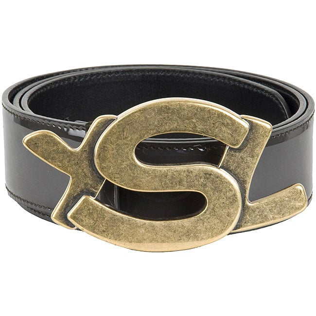 Ysl Women S Patent Leather Ysl Logo Buckle Belt Free