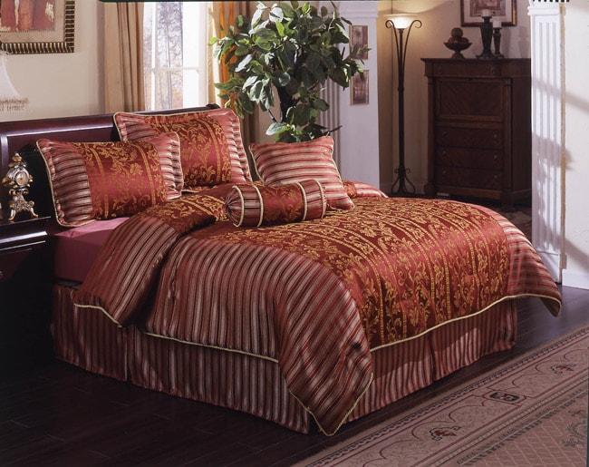 Amengo Burgundy King Comforter Set