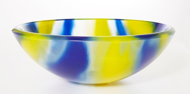 DeNovo Catseye Yellow/ Blue Glass Vessel Sink