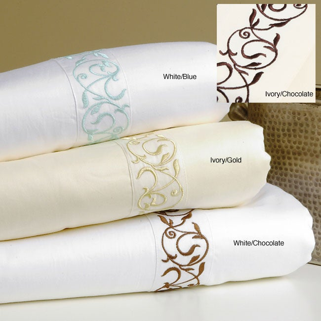 Scroll Embroidered Hem 300 Thread Count Cotton Sheet Set