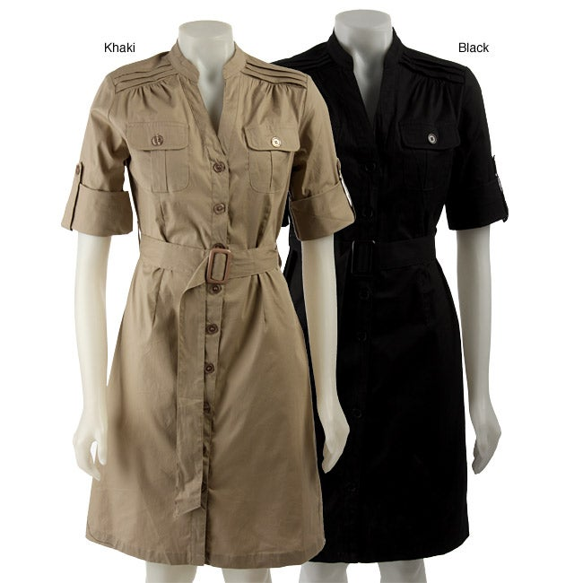 bb258676ce8 Shop Mlle Gabrielle Women s Belted Button-up Shirtdress - Free Shipping On  Orders Over  45 - Overstock - 3232245