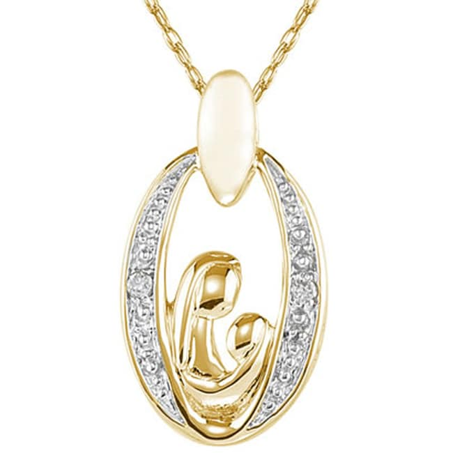 Marquee Jewels 14k Yellow Gold Diamond Necklace of mother and child
