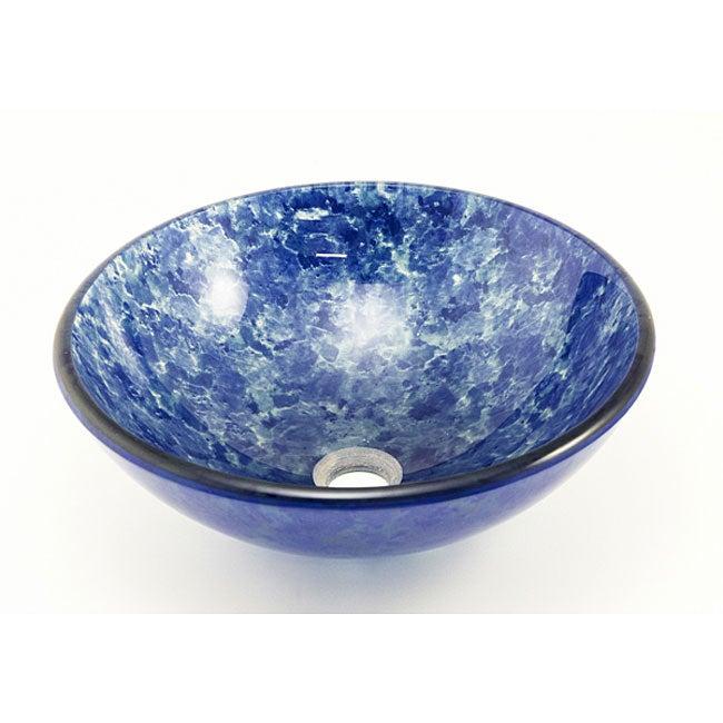 DeNovo Powder Blue Sponged Glass Bathroom Sink