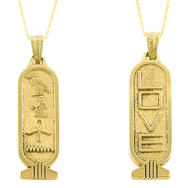 14k Yellow Gold Love Cartouche Necklace Free Shipping Today Overstock Com 11345209