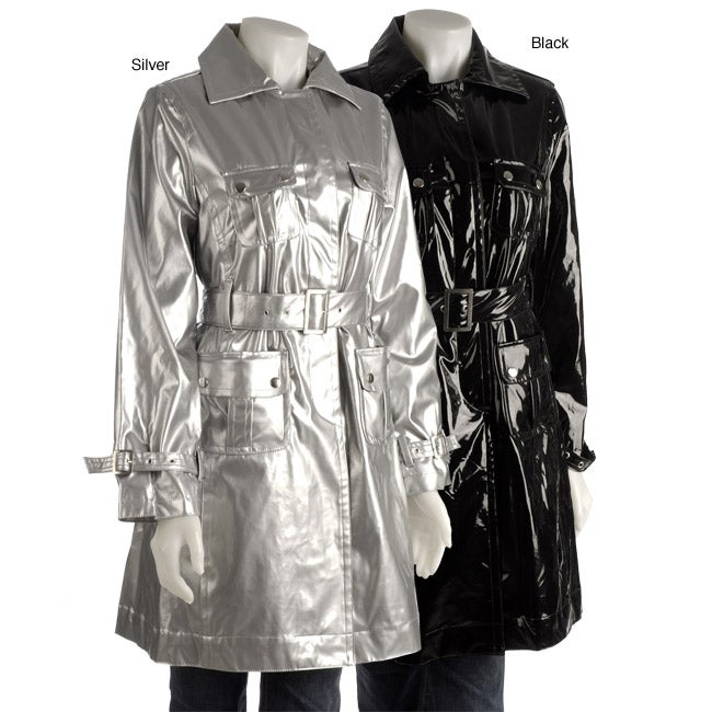 a972bdad9bfd Shop Trilogi Women s Faux Patent Leather Trench Coat - Free Shipping Today  - Overstock - 3235448