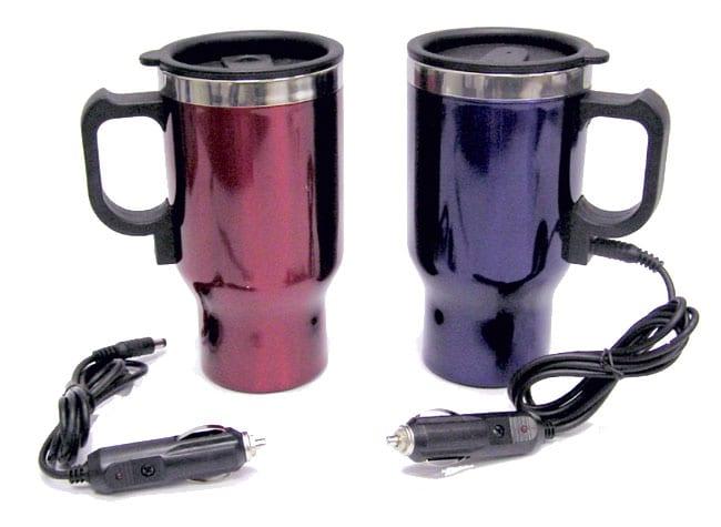 Two Heated Plug-in Travel Mugs