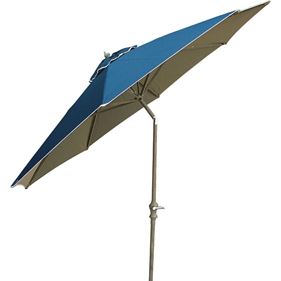 Premium Aluminum Woven Canopy Blue 9-foot Umbrella