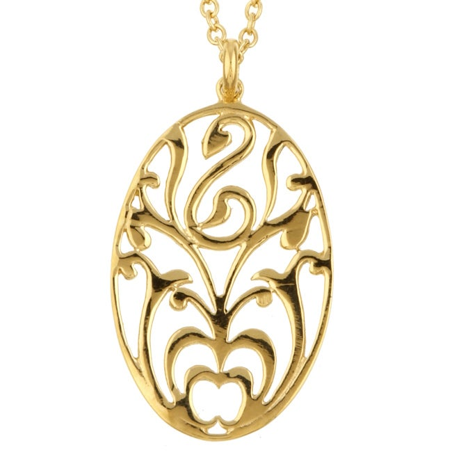Sterling Essentials 18k Gold over Silver Scroll Medallion Necklace