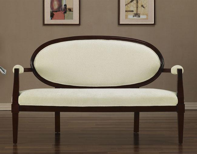 Cream Oval Back Settee