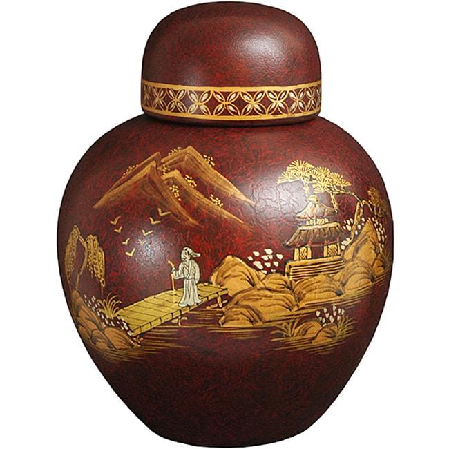 Handmade Red Crackle Ginger Jar (China)
