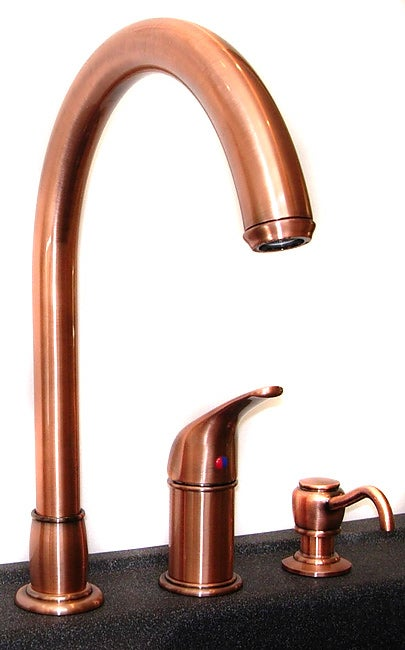 fontaine antique copper kitchen faucet with soap dispenser