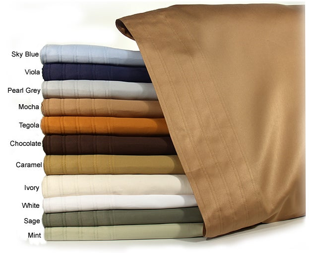 Mondrian Solid 600 Thread Count Egyptian Cotton Sateen Sheet Set (King) made in Italy