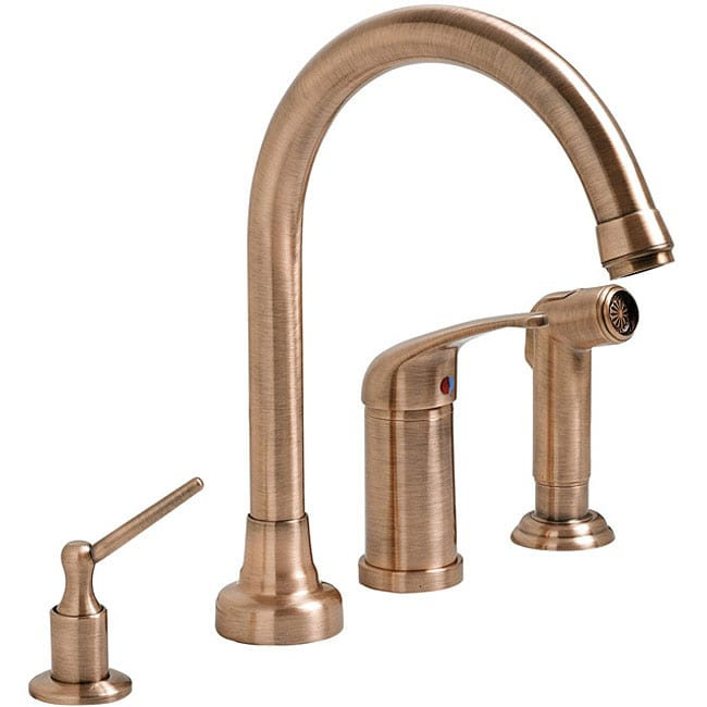 fontaine antique copper 4 hole kitchen faucet free fontaine ff chl4k ac chloe pull down kitchen faucet