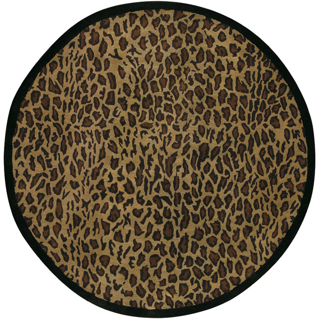 Hand Tufted Brown Leopard Animal Print Safari Wool Rug 8