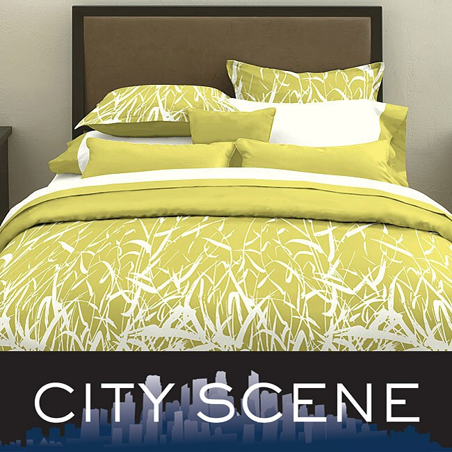 City Scene Bamboo Celadon 3-piece Duvet Cover Set