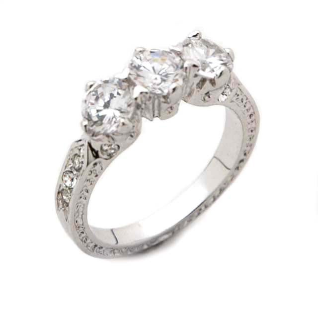 Journee Sterling Silver 3-Stone CZ Ring