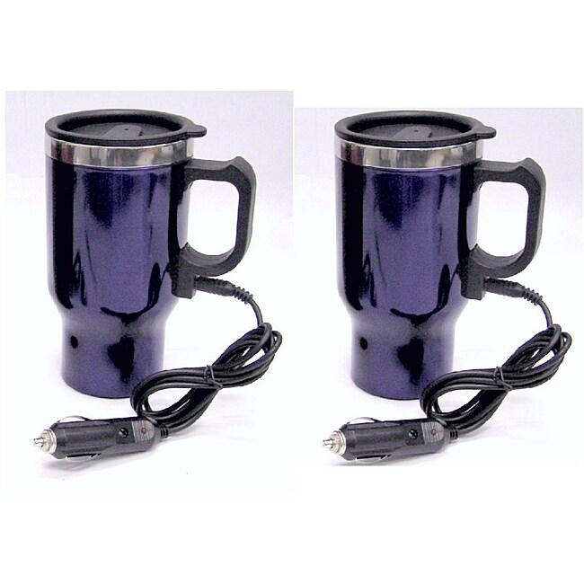 Blue Heated Stainless Steel Plug-in Travel Mugs (Set of 2)