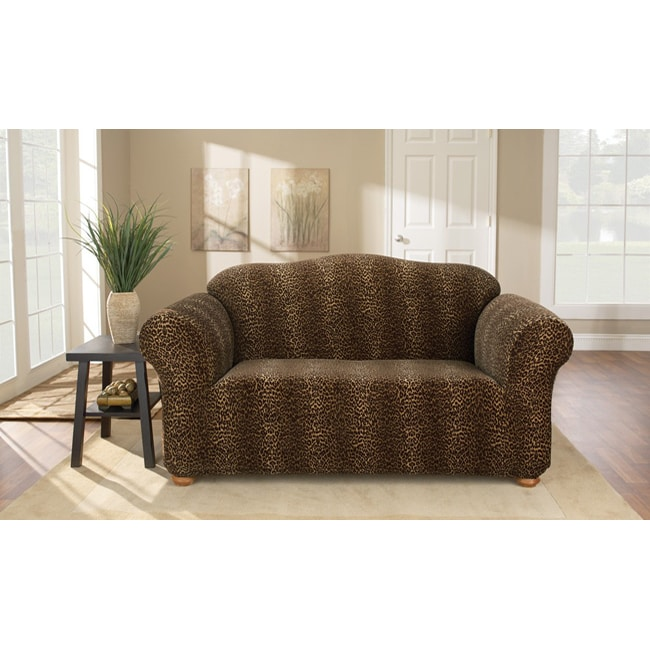 Shop Stretch Leopard Loveseat Slipcover Free Shipping