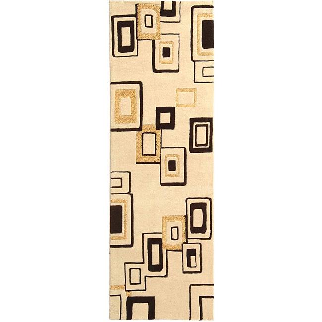 Safavieh Handmade Soho Gala Modern Abstract Beige/ Brown Wool Runner (2'6 x 8')