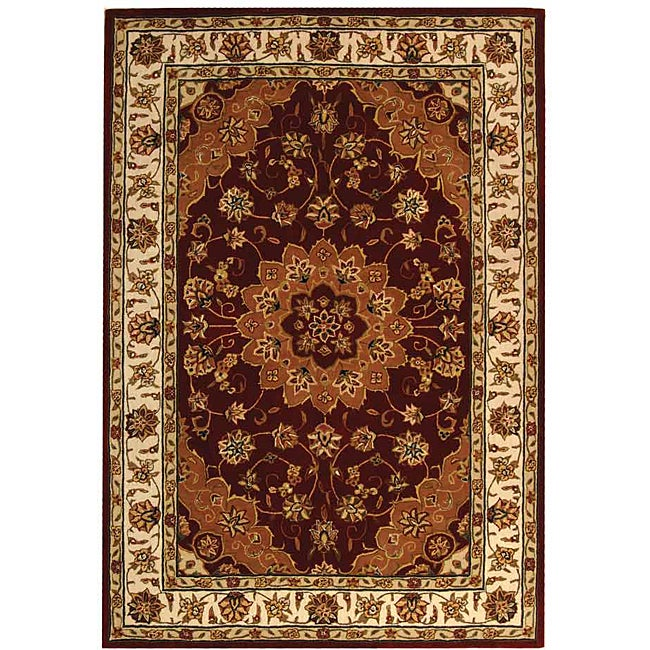 Safavieh Handmade Traditions Tabriz Red/ Ivory Wool and Silk Rug - 5' x 8'