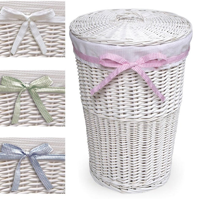 White round rattan hamper with white waffle liner free shipping on orders over 45 overstock - Wicker hamper with liner ...