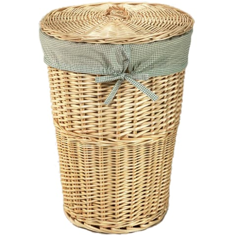 Natural round rattan hamper with sage gingham liner free shipping on orders over 45 - Wicker hampers with liners ...