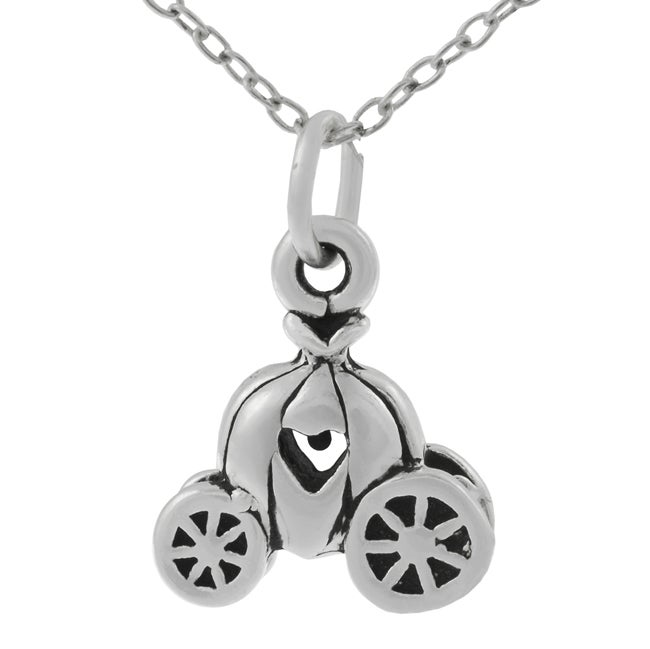 Journee Collection Sterling Silver Pumpkin Carriage Necklace