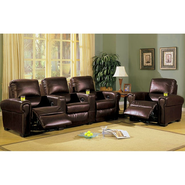 Top Grain Leather Home Theatre Sectional Recliner Free